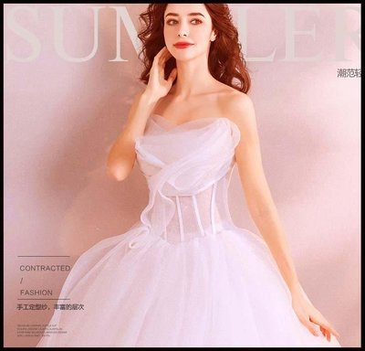 哆啦本鋪 天使嫁衣 潮范兒 夢幻公主立體花抹胸新娘婚紗禮服D655