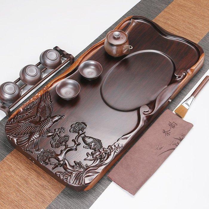 直銷 黑檀木茶盤平板雕刻家用茶盤 原木實木整塊茶臺 茶海P1044