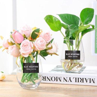 歐式花瓶簡約玻璃瓶花瓶透明水培植物綠蘿盆栽花盆桌面擺件花器玻璃喝水杯