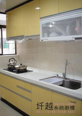 隱藏式G型把手+人造石檯面+三機 流理台廚具(210CM)快洽*圲越系統廚櫃*
