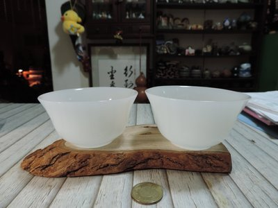 早期收藏~白脂滑潤白玉碗  凝漾細膩 勻純透光雙擺件  御用貴氣碗 皎月白玉 琉潤白玉 豐衣足食 擺件(不含底座)