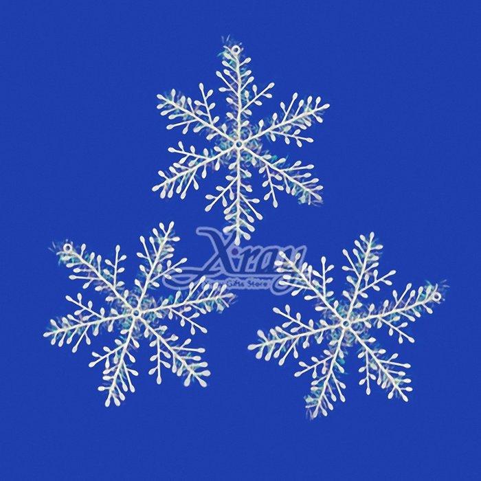 """X射線【X271898】3入7""""拉絲雪花片吊飾,聖誕/聖誕佈置/裝飾/吊飾/交換禮物"""