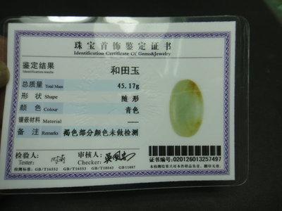 【競標網】天然頂級正宗和闐玉雕刻水籽料45克(S65)(附鑑定書)(網路特價品、原價900元)限量一件
