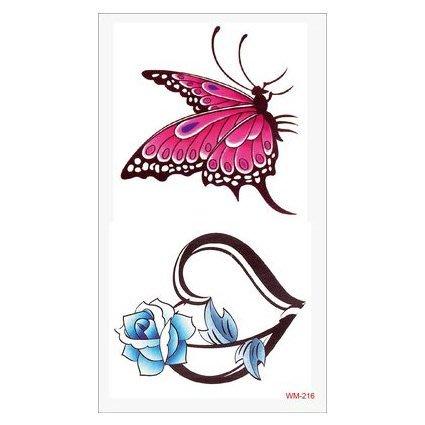 【萌古屋】M系列桃紅蝴蝶與玫瑰 - 男女防水紋身貼紙原宿刺青貼紙WM-216