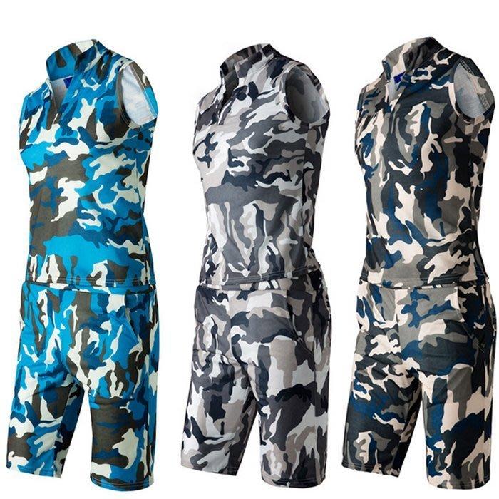『潮范』 WS07 百搭迷彩男士無袖套裝 大碼衛衣 休閒運動套裝 五分褲 圖案背心NRB1770