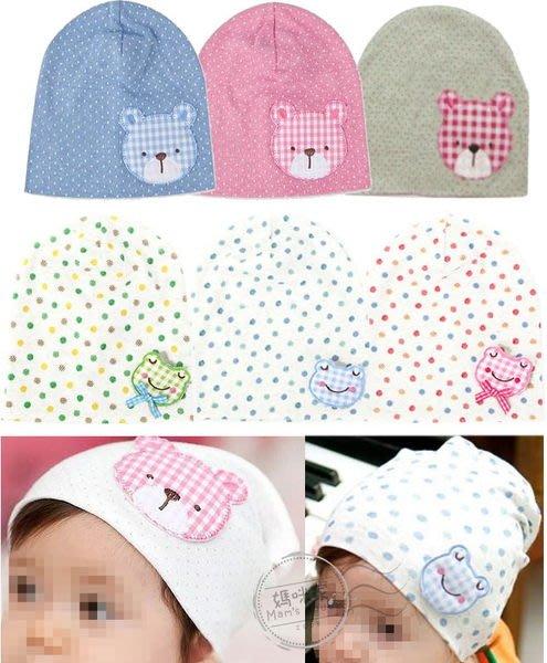 媽咪家【R047】R47貼布套頭帽 韓單 氣質 樸素 純綿 貼布帽 套頭帽 寶寶帽 嬰兒帽