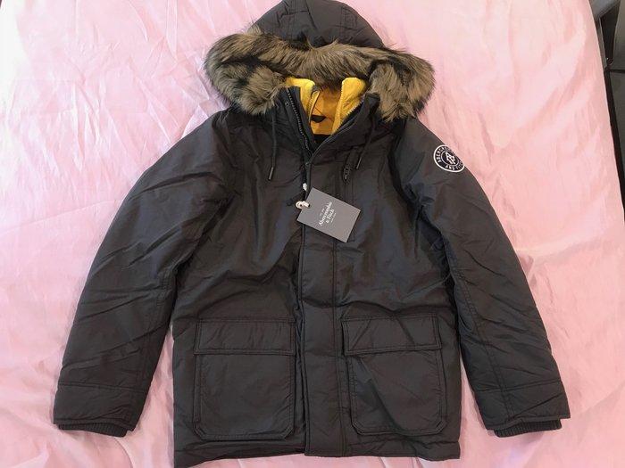 【天普小棧】A&F Abercrombie Gothics Mountain Parka重磅鋪棉連帽防寒外套深灰XL號