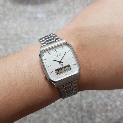 特殊錶款 ☆ 雙時區 ☆ <日本帶回>漂亮 TELUX TQ 男錶 大錶徑方型錶 3.1/18.5 石英錶 電子錶 漂亮老錶 A2