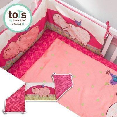「英國smarTrike-Tots」河馬散步立體刺繡雙面床圍-點點粉