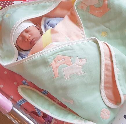 初生嬰兒抱被 新生兒包被 薄款純棉紗布夏季寶寶包巾産房包布裹—莎芭
