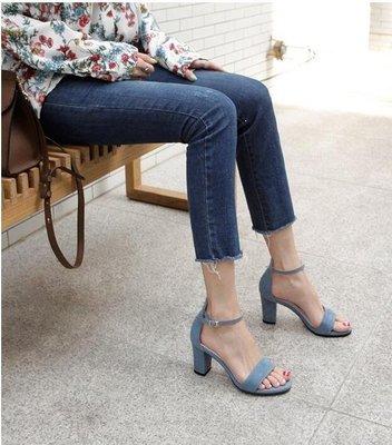 ZIHOPE 新款粗跟涼鞋女仙女風一字帶網紅百搭超火晚晚溫柔高跟鞋ZI812