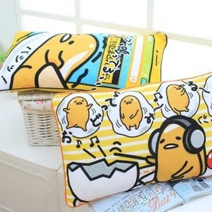 艾莉小舖~當天出貨~日本 gudetamaKIRIMI醬 耳機&手機 50*30cm懒蛋蛋 蛋黄哥 蛋黃君卡通抱枕靠墊
