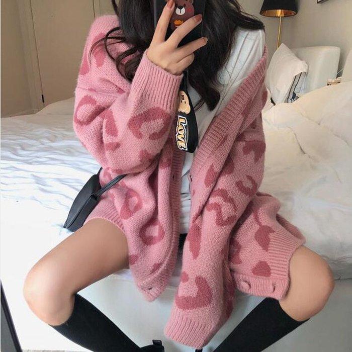 Modem Girl♥100%實拍 超好看 慵懶豹紋長板毛衣外套 (特價) 2色