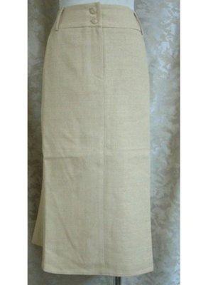 ~麗麗ㄉ大碼舖~#6(31吋)駝黃色前拉鍊式及膝裙~全賣場3件免運費~