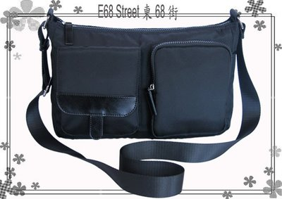 E68_st~JL0601全新與日韓同步流行黑色 Polyester 搭配牛皮可調式斜側肩背包&短肩包