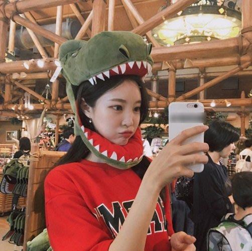搞怪可愛卡通鱷魚恐龍鯊魚頭套 搞怪拍照道具賣萌頭飾(恐龍款)_☆優購好SoGood☆