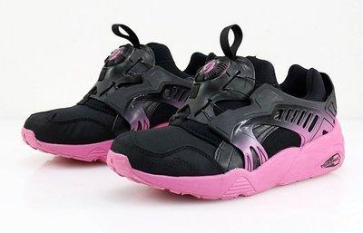 =CodE= PUMA DISC BLAZE BLUR WN'S 針織尼龍轉盤慢跑鞋(黑粉紅).359347-01.女
