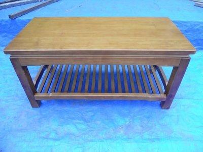 B010 {崙頂傳統原木家具行}~鐵杉木 雙層實木桌 淺柚木色 歡迎訂做 訂色