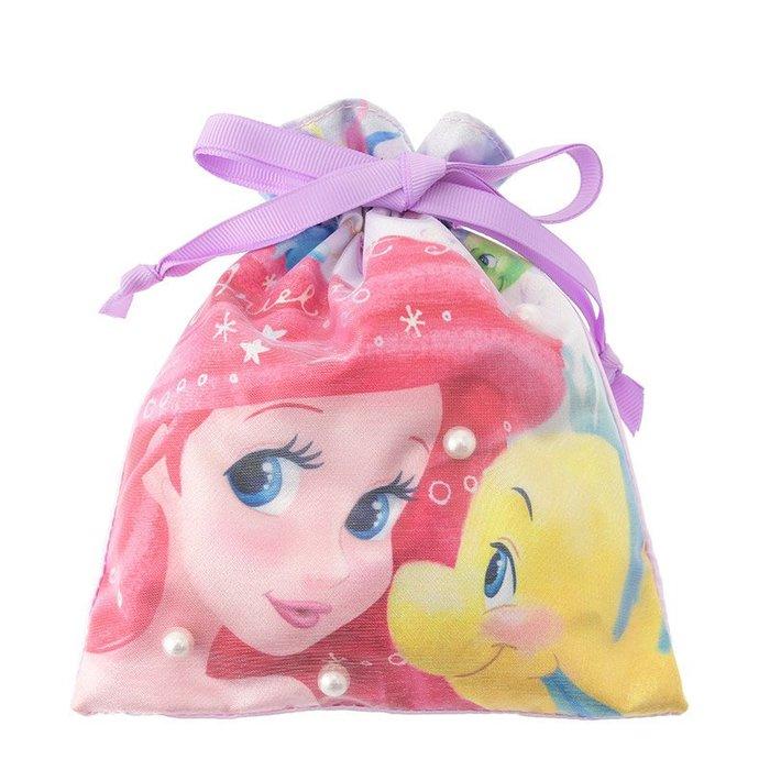 迪士尼Disney《現貨》海底世界 小美人魚 愛麗兒小比目魚 珍珠緞面束口袋~日本正品~心心小舖