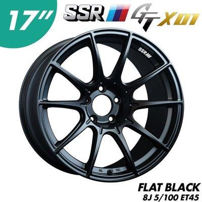 """【Power Parts】SSR GTX01 鋁圈 17"""" 8J 5x100 ET45 FLAT BLACK(黑)"""