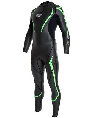 ~BB泳裝~2016 SPEEDO成人長袖連身三鐵防寒衣 COMP 2mm 黑-綠 SDSOA16113