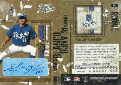 2004 DONRUSS LEATHER & LUMBER ANDRES BLANCO 新人親筆簽名卡 24/100