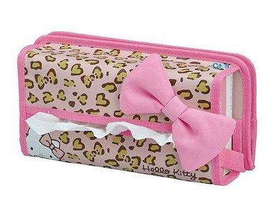 《東京家族》Hello kitty 蝴蝶結 粉色豹紋 車用面紙盒/面紙套