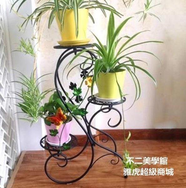 【格倫雅】^彩繪花架 藝落地式花架室內外花盆架多層白色彩繪居家花幾送朋友居家款5005