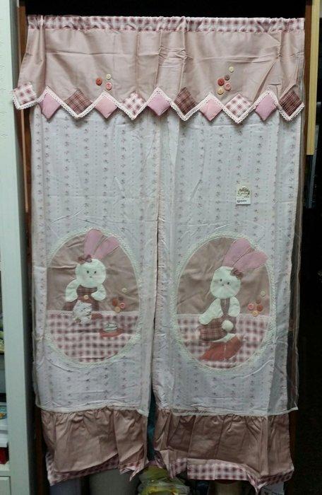 美生活館--全新鄉村風格拼布 立體 兔兔情侶 格紋薄紗雙層長門簾/裝飾簾/櫃簾/窗簾 90*150 cm