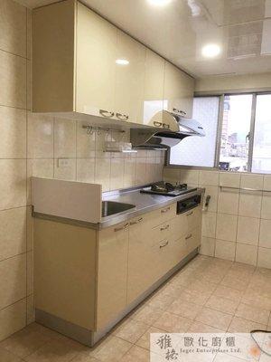 【雅格廚櫃】工廠直營~一字型廚櫃、流理台、廚具、五面結晶門板、不鏽鋼檯面