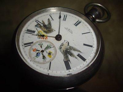 古董1885年 waltham搪瓷法瑯彩繪花鳥純銀懷錶錶徑56mm rolex omega panerai oris