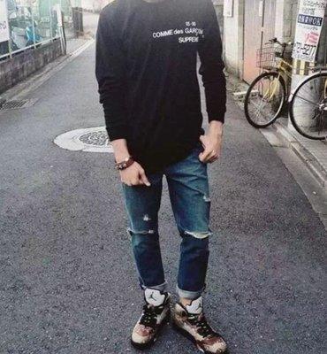 全新正品 Supreme X CDG L/S T-Shirt 15FW 聯名長TEE 黑、白