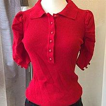 《寶兒花園》大紅喜氣襯衫領羅紋布公主袖針織上衣