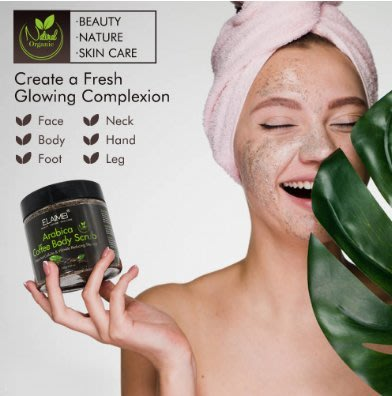 NN2*買3送1ELAIMEI咖啡磨砂膏去角質body scrub臉部身體去死皮海鹽深層潔凈 現貨-/SSy+