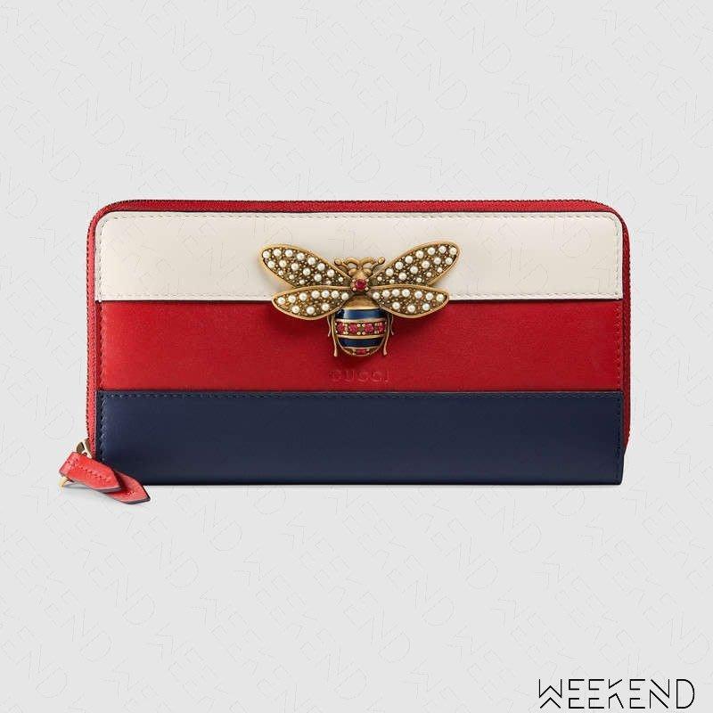 super popular 1909c 0a61a 【WEEKEND】 GUCCI Queen Margaret 蜂后 拉鍊 皮夾 長夾 紅+藍+白色 476069