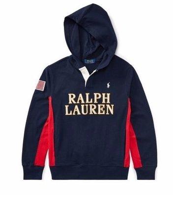 Polo Ralph Lauren 長袖 T恤 鈕扣 帽T 小馬 青年款 現貨 深藍色