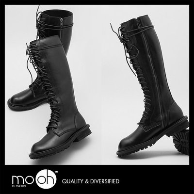 綁帶靴 圓頭貼腿顯瘦拉鍊馬丁靴長靴 黑色 mo.oh(歐美鞋款)