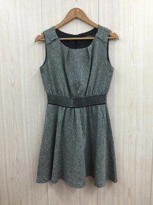 【愛莎&嵐】niceioi 女 灰色圓領收腰無袖洋裝  1071224
