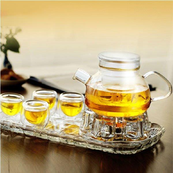5Cgo【茗道】含稅會員有優惠 14596188458 美斯尼花茶壺茶藝茶具套裝加厚全玻璃茶盤套裝禮盒 整套茶具八件套