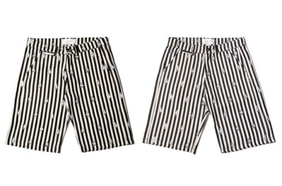 { POISON } LESS GHICA POPA ALL OVER BEAR PATTERN SHORT-S 直紋褲