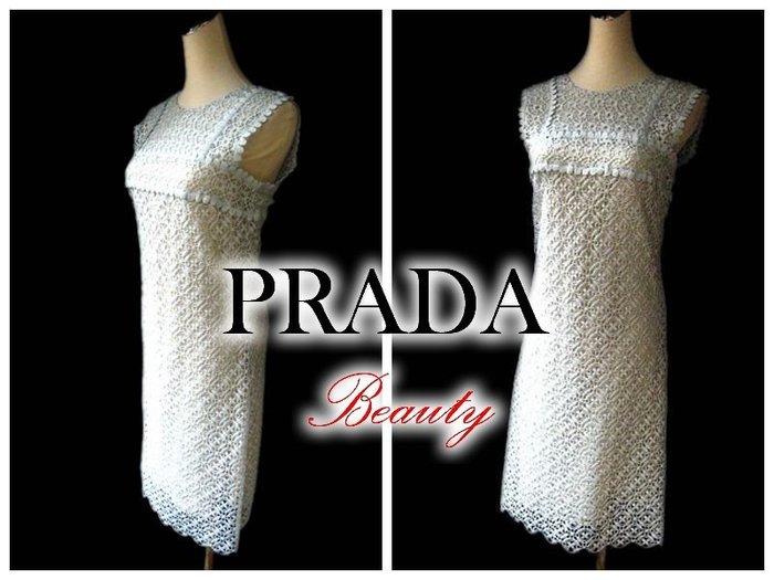 *Beauty*PRADA淺銀蔥蕾絲無袖洋裝 WE14 原價121000元