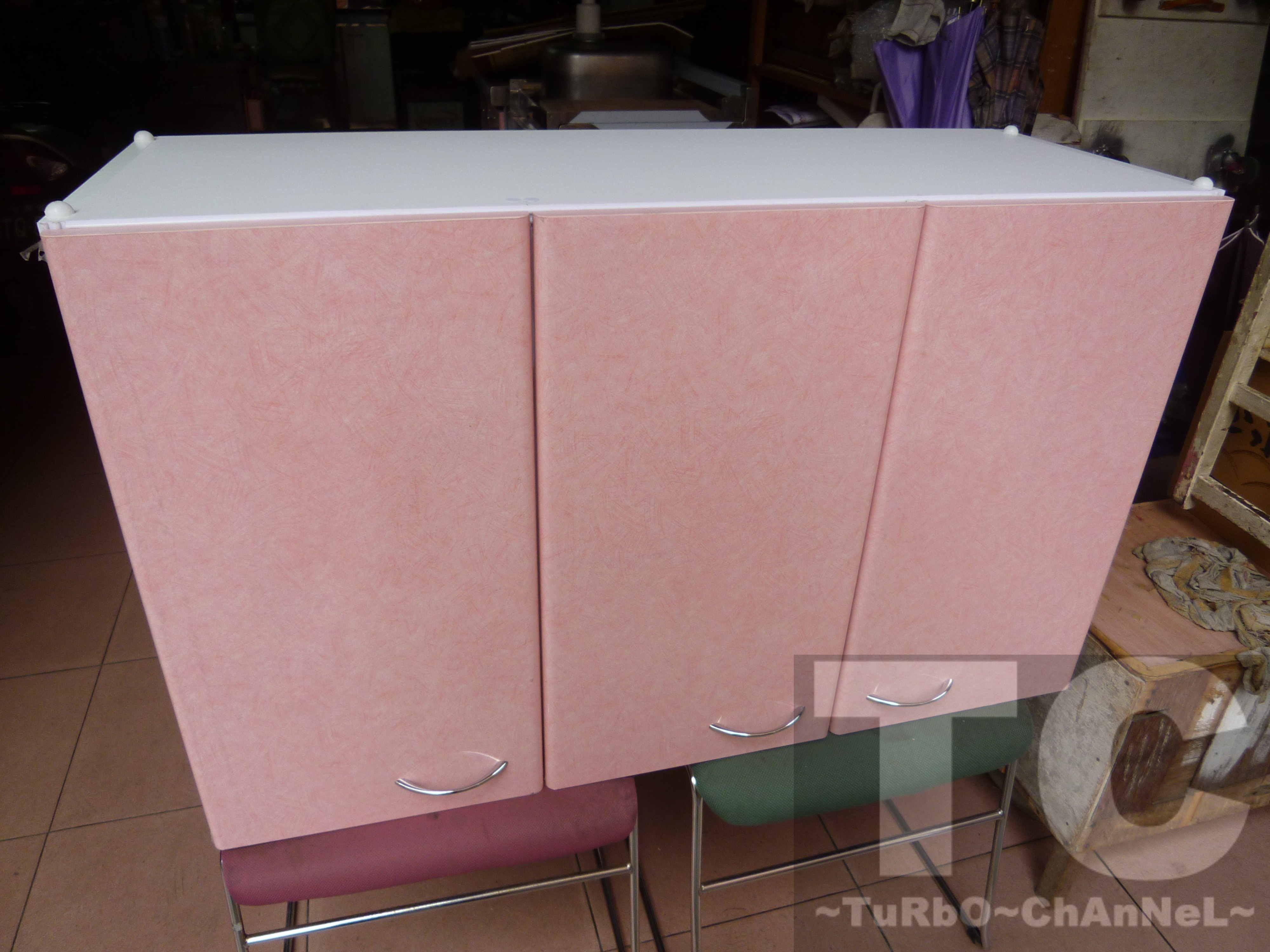 【100公分吊廚-右對開 吊櫃 廚櫃 壁櫥】粉紅線條門板 對應本賣場流理台產品尺寸 置物吊櫃