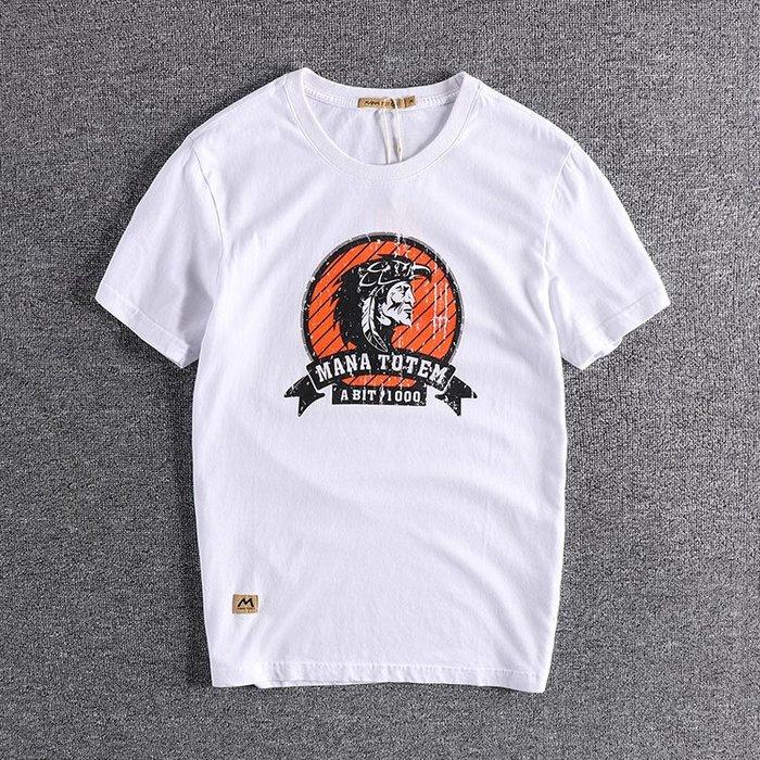 ☆Mr.☆日系街頭帥氣水洗印地安酋長圖案短袖T恤上衣(四色)~預購+現貨
