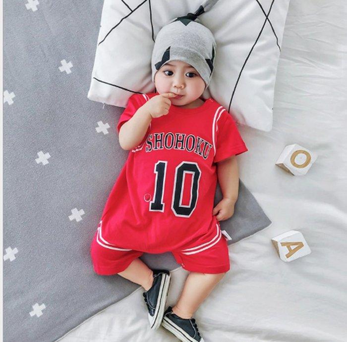 現貨~🍎MINI貝貝城🍎夏季嬰兒連體衣運動風寶寶哈衣短袖爬服夏裝籃球服(紅色)