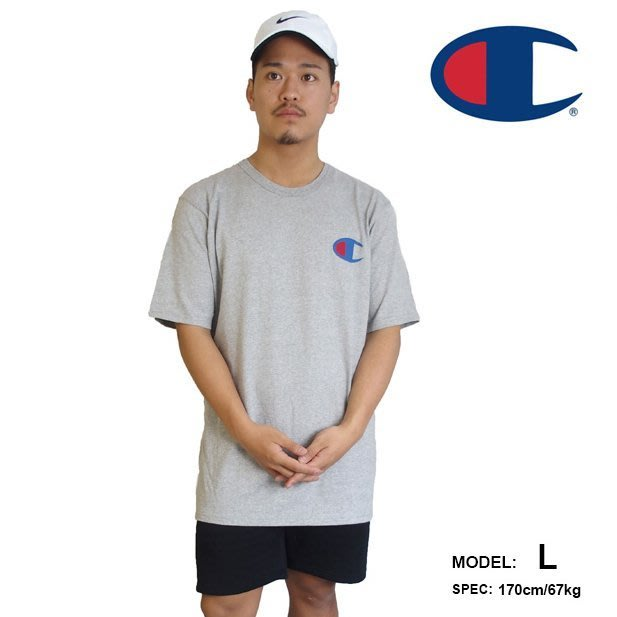 美國百分百【Champion】冠軍 T恤 短袖 T-shirt 大logo 素T 高磅數 街頭潮牌 淺灰 上衣 G435