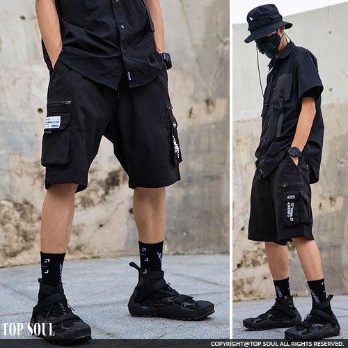 五分褲 短褲 運動褲 貼布印花多口袋設計機能短褲.TOP SOUL【BTY2233】