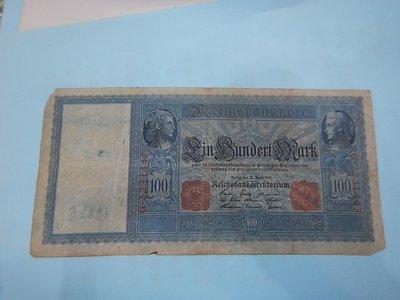 ☆孟宏館☆德國舊馬克1908年100馬克~紙鈔鈔票~H087