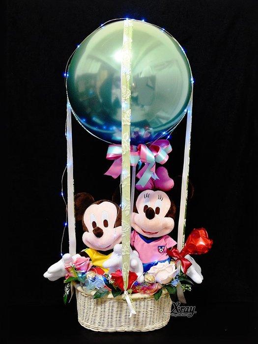 X射線【Y577020】13吋足球米奇米妮幸福熱氣球,Disney/捧花/情人節禮物/熱氣球/金莎花束/亮燈花束/告白