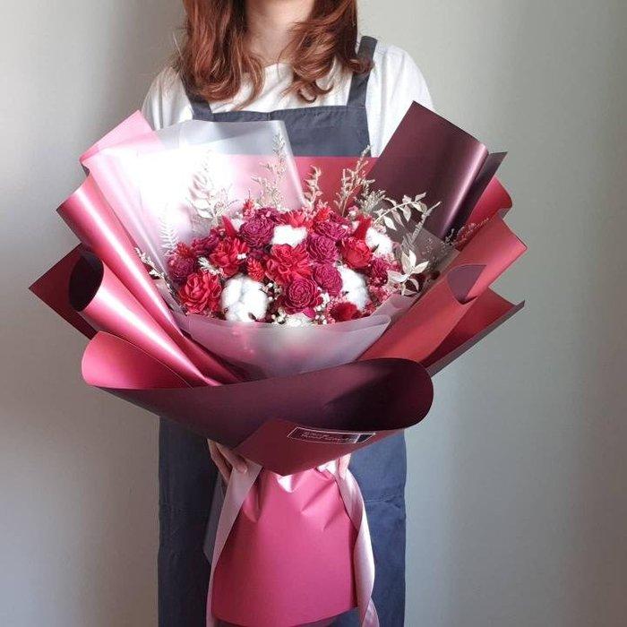 《!限自取!》【巨大花束】紅色系香氛索拉乾燥花束/求婚花束/告白花束/道歉花束