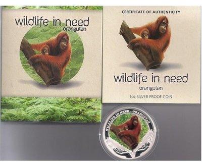 澳洲 紀念幣 2011 1oz Wildlife in Need系列第二枚-紅毛猩猩 紀念銀幣 原廠原盒